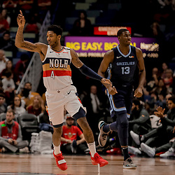 Jan 7, 2019; New Orleans, LA, USA; New Orleans Pelicans guard Elfrid Payton (4) reacts against the Memphis Grizzlies during the first quarter at the Smoothie King Center. Mandatory Credit: Derick E. Hingle-USA TODAY Sports