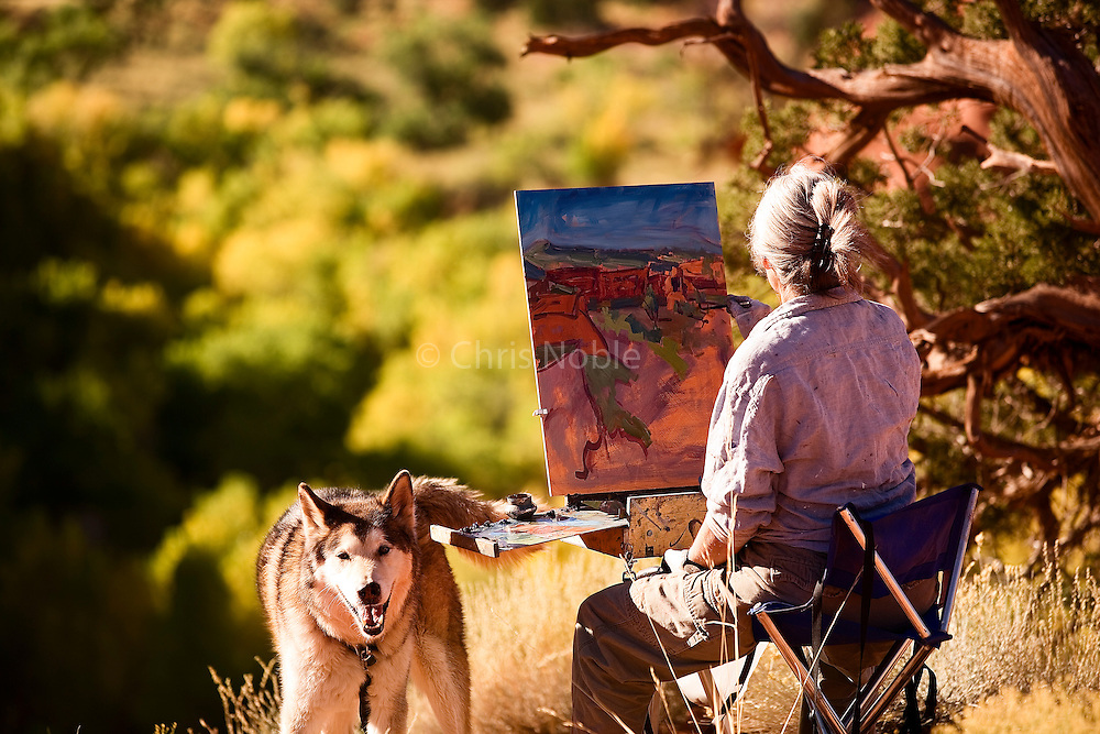 """Utah artist Trent Alvey and """"Moses""""  painting in Escalante Grand Staircase National Monument."""