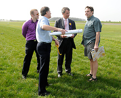 FILE PICTURE  © under license to London News Pictures. 01/12/2010 Pictured: Nigel Farage and Justin Adams (R) photographed a week before the flight which crashed. Justin Adams, the pilot of the plane which crashed and injured Nigel Farage has been charged with threatening to kill the politician. Picture credit should read Stephen Simpson/London News Pictures