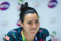 February 18, 2019 - Dubai, ARAB EMIRATES - Ons Jabeur of Tunisia talks to the media after winning her first-round match at the 2019 Dubai Duty Free Tennis Championships WTA Premier 5 tennis tournament (Credit Image: © AFP7 via ZUMA Wire)