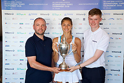 LIVERPOOL, ENGLAND - Sunday, June 24, 2018: Corinna Dentoni (ITA) with BMW sponsors Chris Woods (l) and Nick Bannon-Thomas during day four of the Williams BMW Liverpool International Tennis Tournament 2018 at Aigburth Cricket Club. (Pic by Paul Greenwood/Propaganda)