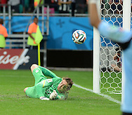 Tim Krul of Netherlands saves a penalty to win the 2014 FIFA World Cup match against Costa Rica at the Itaipava Arena Fonte Nova, Nazare, Bahia<br /> Picture by Stefano Gnech/Focus Images Ltd +39 333 1641678<br /> 05/07/2014