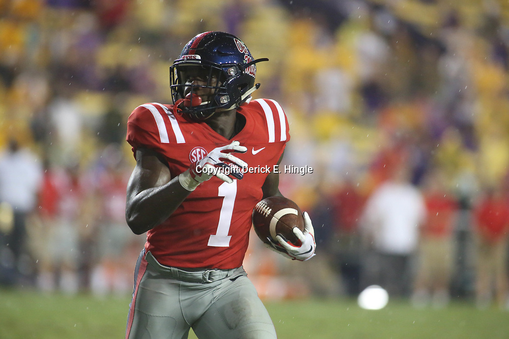 Sep 29, 2018; Baton Rouge, LA, USA; Mississippi Rebels wide receiver A.J. Brown (1) runs against the LSU Tigers during the second half of a game at Tiger Stadium. Mandatory Credit: Derick E. Hingle-USA TODAY Sports