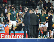 South Africa's Captain Victor Matfield collecting his medal during the Rugby World Cup Bronze Final match between South Africa and Argentina at the Queen Elizabeth II Olympic Park, London, United Kingdom on 30 October 2015. Photo by Matthew Redman.