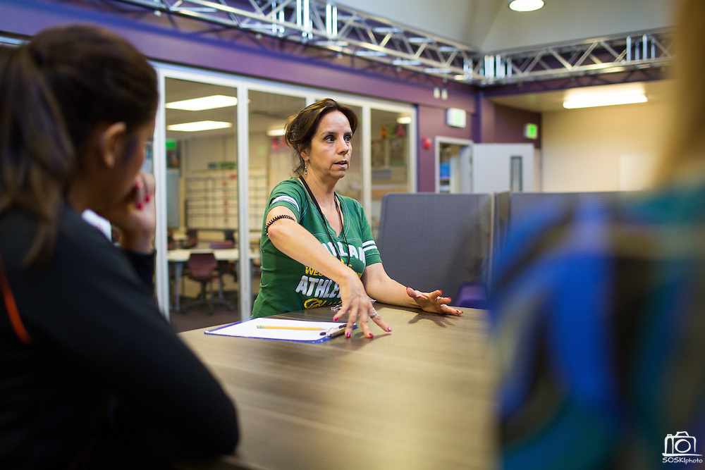 Pennie Perkins, science, and other Rancho Middle School seventh grade teachers talk about the benefits of the new Student Learning Lab with media at Rancho Middle School in Milpitas, California, on September 16, 2013. (Stan Olszewski/SOSKIphoto)