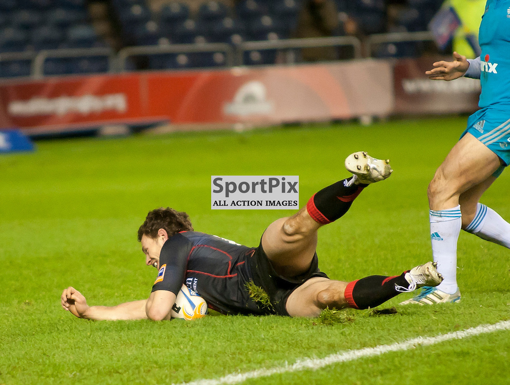Nick De Luca dives over the line to score,Edinburgh Rugby v Aironi, Rabodirect Pro12
