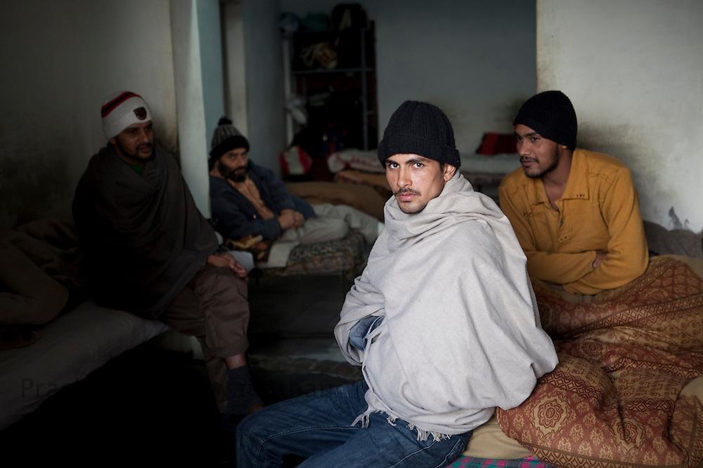 "Drug addicts wait around at ""Navjeevan""  drug rehabilitation center in Amritsar, India, on Wednesday, December 15, 2010. Photographer: Prashanth Vishwanathan/HELSINGIN SANOMAT"