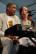 Marcia Ball performing with Glen David Andrews at the New Orleans Jazz and Heritage Festival in New Orleans, Louisiana, May 1, 2011.