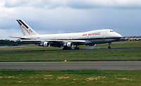 Boeing 747 jumbo jet touches down at Belfast International Airport, N Ireland, to inaugurate a new once-a-week air service between Belfast and New York, called Atlantic Express. 19840068AE1..Copyright Image from Victor Patterson, 54 Dorchester Park, Belfast, UK, BT9 6RJ..Tel: +44 28 9066 1296.Mob: +44 7802 353836.Voicemail +44 20 8816 7153.Skype: victorpattersonbelfast.Email: victorpatterson@me.com.Email: victorpatterson@ireland.com (back-up)..IMPORTANT: If you wish to use this image or any other of my images please go to www.victorpatterson.com and click on the Terms & Conditions. Then contact me by email or phone with the reference number(s) of the image(s) concerned.