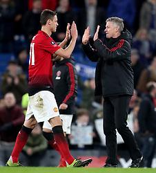 Manchester United caretaker manager Ole Gunnar Solskjaer and Manchester United's Nemanja Matic at the final whislte