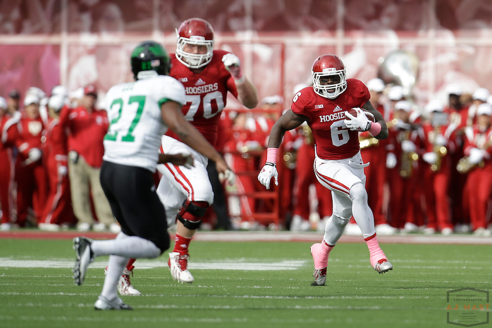 04 October 2014: Indiana Hoosiers running back Tevin Coleman (6) as the Indiana Hoosiers played North Texas in a NCAA college football game in Bloomington, IN.