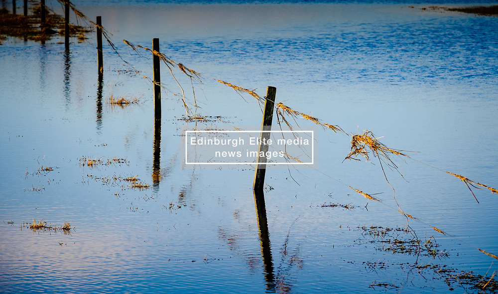 Flooded fields in South Lanarkshire caused by the River Medwin (a tributary of the River Clyde) flooding its banks near Carnwath, Scotland.<br /> <br /> <br /> (c) Andrew Wilson | Edinburgh Elite media