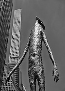 """""""Looking Up"""" by Tom Friedman (height: 33.3 feet) with in the background 432 Park Avenue, (height: 1396 feet) currently the tallest residential skyscraper in New York City."""