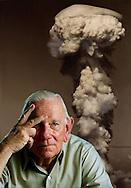 "Charles Donald Albury, co-pilot of the Bockscar. The United States Army Air Forces B-29 bomber dropped the Fat Man nuclear bomb over the Japanese city of Nagasaki, Japan, that ended WWII. ""I saw the flash,"" said retiree Don Albury, 'I thought, ""My God"" '."