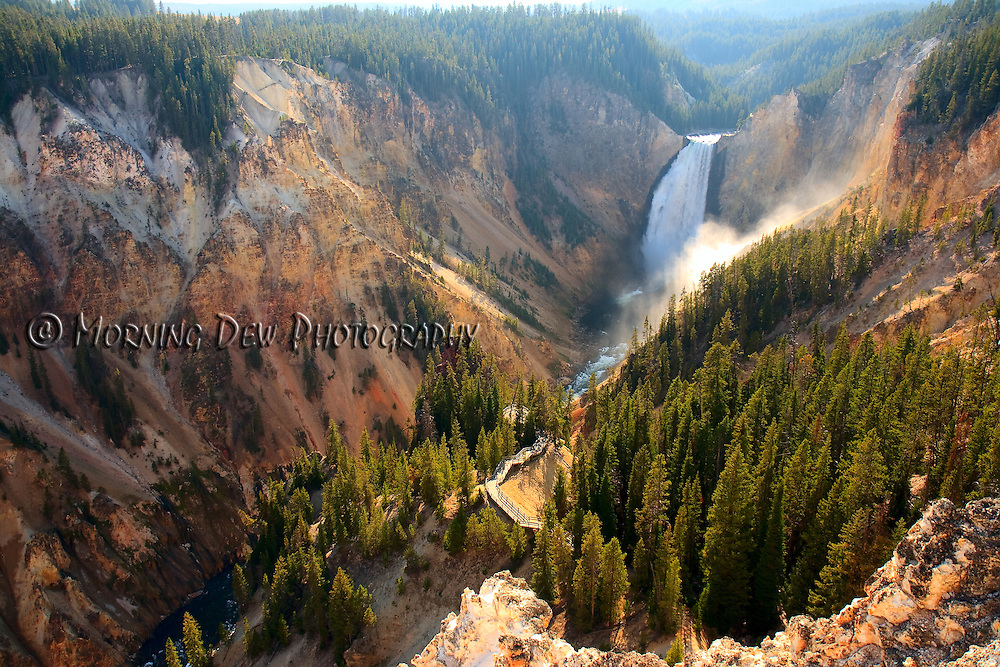 Sunlight illuminates the spray as the Yellowstone River crashes over the Lower Falls in Yellowstone's Grand Canyon.