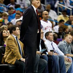 December 3, 2010; New Orleans, LA, USA; New York Knicks head coach Mike D'Antoni during the first half against the New Orleans Hornets at the New Orleans Arena. Mandatory Credit: Derick E. Hingle