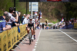 Chantal Blaak (NED) attacks on the penultimate time up the Cauberg at Amstel Gold Race - Ladies Edition 2018, a 116.9 km road race from Maastricht to Berg en Terblijt on April 15, 2018. Photo by Sean Robinson/Velofocus.com