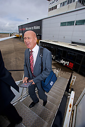 CARDIFF, WALES - Monday, September 4, 2017: Wales' head of pubic affairs Ian Gwyn Hughes boards the team plane as the squad depart Cardiff Airport to travel to Chișinău ahead of the 2018 FIFA World Cup Qualifying Group D match against Moldova. (Pic by David Rawcliffe/Propaganda)