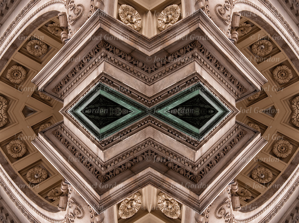 Looking up a computer altered abstract decorative Beaux Arts design elements on building. <br />
