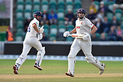 Nick Browne of Essex and Alastair Cook of Essex running between the wickets during the Specsavers County Champ Div 1 match between Somerset County Cricket Club and Essex County Cricket Club at the Cooper Associates County Ground, Taunton, United Kingdom on 26 September 2019.