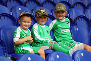 Young AFC Wimbledon fans wearing goalkeeper kit during the EFL Sky Bet League 1 match between AFC Wimbledon and Wycombe Wanderers at the Cherry Red Records Stadium, Kingston, England on 31 August 2019.