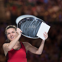 Simona Halep of Romania during the trophy presentation after winning the women's singles championship match during the 2018 Australian Open on day 13 in Melbourne, Australia on Saturday night January 27, 2018.<br /> (Ben Solomon/Tennis Australia)