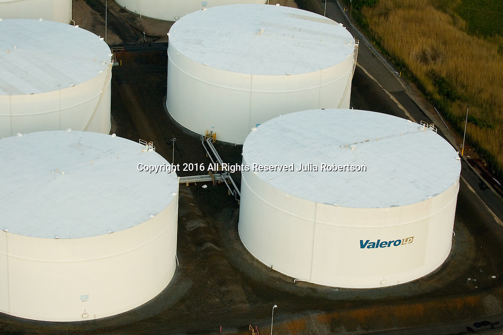 Aerial view of the Valero oil terminals in north jersey