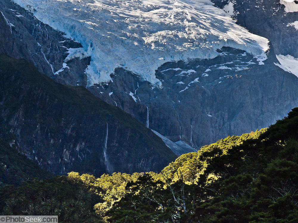 Glaciers melt a myriad of streams into Rob Roy Valley, in Mount Aspiring National Park, Southern Alps, South Island, New Zealand. In 1990, UNESCO honored Te Wahipounamu - South West New Zealand as a World Heritage Area.