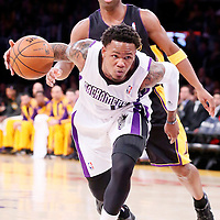 28 February 2014: Sacramento Kings shooting guard Ben McLemore (16) dribbles during the Los Angeles Lakers 126-122 victory over the Sacramento Kings at the Staples Center, Los Angeles, California, USA.