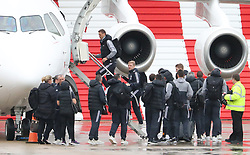 Nemanja Matic as the Manchester United team fly to Wales on Tuesday morning for their Carabao Cup match against Swansea City