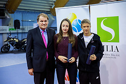 R-L: Anze Arh, Lara Prosenjak and Marko Umberger, president of TZS at Tennis exhibition day and Slovenian Tennis personality of the year 2013 annual awards presented by Slovene Tennis Association TZS, on December 21, 2013 in BTC City, TC Millenium, Ljubljana, Slovenia.  Photo by Vid Ponikvar / Sportida