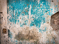 Section of a weathered exterior wall of a building in Old Havana.