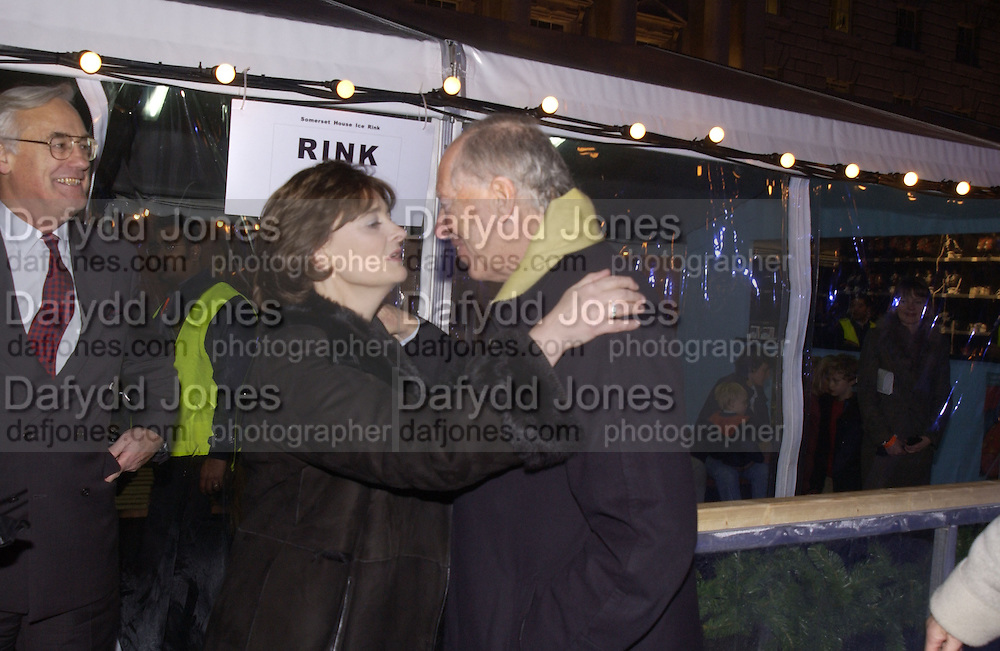 Cherie Booth. ( Cherie Blair) and Lord Jacob Rothschild.Launch of the Somerset House Christmas Ice Rink. Hosted by Sir Timothy Sainsbury and H.E. Bruno Spinner Amabassador of Switzerland. © Copyright Photograph by Dafydd Jones 66 Stockwell Park Rd. London SW9 0DA Tel 020 7733 0108 www.dafjones.com