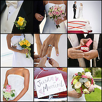 Collage of brides and grooms