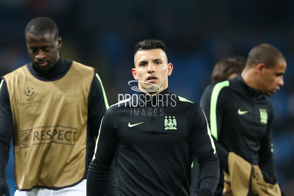 Sergio Agüero of Manchester City warms up before the Champions League round of 16 match between Manchester City and Dynamo Kiev at the Etihad Stadium, Manchester, England on 15 March 2016. Photo by Simon Brady.