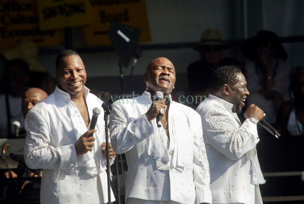 03 May 2015. New Orleans, Louisiana.<br /> The New Orleans Jazz and Heritage Festival. <br /> The O'Jays play Congo Square stage.<br /> Photo; Charlie Varley/varleypix.com