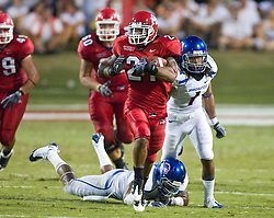 Sep. 18, 2009; Fresno, CA, USA; Fresno State Bulldogs running back Ryan Mathews (21) rushes for a 69 yard touchdown aginst the Boise State Broncos during the second quarter at Bulldog Stadium.