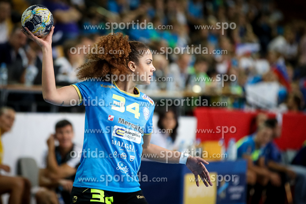 Lamprini Tsakalou of RK Krim Mercator during handball match between RK Krim Mercator and NFH - Nykobing Falster in Group Matches of Women's EHF Champions League 2017/18, on October 14, 2017 in Arena Kodeljevo, Ljubljana, Slovenia.