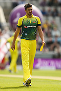 Mitchell Starc of Australia during the 3rd One Day International match at Old Trafford Cricket Ground, Stretford<br /> Picture by Andy Kearns/Focus Images Ltd 0781 864 4264<br /> 08/09/2015
