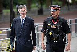 © Licensed to London News Pictures. 03/06/2019. London, UK. Conservative MP Jacob Rees Mogg is escorted around a police roadblock near St James's Park during the US President Donald Trump State Visit to London. During his three days in the UK he will meet with members of the Royal family and outgoing Prime Minister Theresa May before attending 75th Anniversary of D-Day commemorations in Portsmouth and France. Photo credit: Peter Macdiarmid/LNP