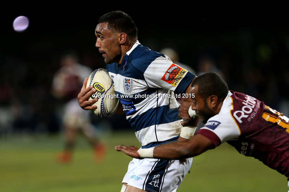 Joe Edwards of Auckland (L) in the tackle of Lolo Loco of Southland during the ITM Cup rugby match between Southland and Auckland at Rugby Park Stadium, Invercargill, Thursday, August 13, 2015. Photo: Dianne Manson / www.photosport.nz