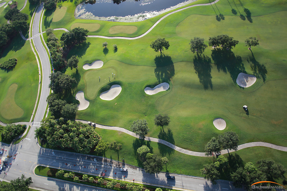 Aerial view of golf course, Westin, Fl.  Golfers putting on green in the early morning light