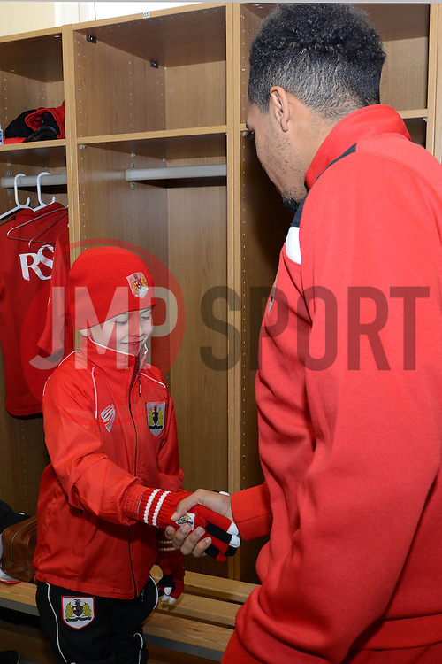 Connor meets Bristol City's Korey Smith - Photo mandatory by-line: Dougie Allward/JMP - Mobile: 07966 386802 - 01/04/2015 - SPORT - Football - Bristol - Bristol City Training Ground - HR Owen and SAM FM - Live like a footballer for a day