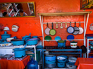 Virberant Blue cooking pots in a Coatepec restaurant
