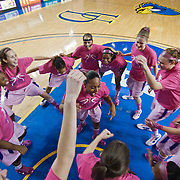 02/05/12 Newark DE: Delaware Junior Guard #3 Jaquetta May (Middle) encourages The University of Delaware Women's Basketball Team prior to the start of a Colonial Athletic Association game against the VCU Lady Rams, Feb. 5, 2012 at the Bob carpenter center in Newark Delaware.<br /> <br /> Special to The News Journal/SAQUAN STIMPSON