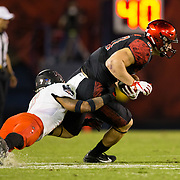 10 November 2018: San Diego State Aztecs tight end Kahale Warring (87) is brought down after catching a pass for a first down in the third quarter. The Aztecs lost 27-24 to UNLV Saturday night at SDCCU Stadium falling a game behind Fresno State in the conference standings.