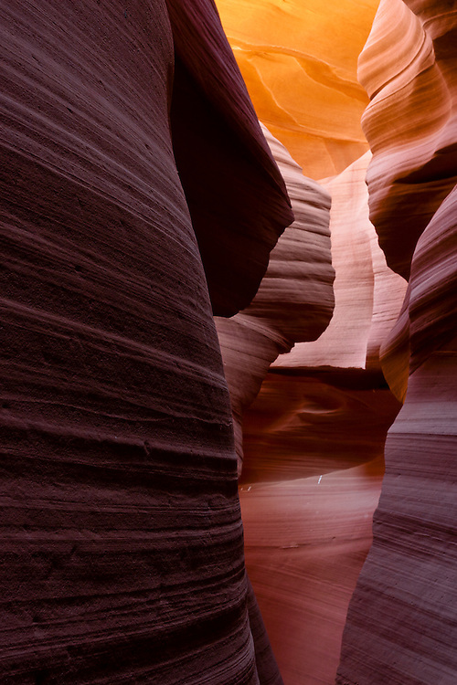 At certain points, the slot canyons narrow to become straight corridors