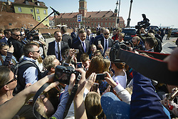 April 13, 2018 - Warsaw, Poland - Polish president Andrzej Duda took an unexpected moment to meet with children and have his photo taken with them after a commemoration service at the Katyn monument in Warsaw, Poland on April 13, 2018. (Credit Image: © Jaap Arriens/NurPhoto via ZUMA Press)