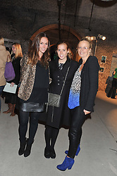 Left to right, EVEIE LONGDON, PRINCESS BEATRICE OF YORK and ASTRID HARBORD at a private view of various works of art at the Art Cellar, 41a Farringdon Street, London on 4th October 2012.