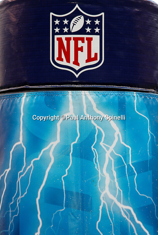A NFL shield and lighting bolts adorn the goal post padding prior to the San Diego Chargers NFL week 2 preseason football game against the Dallas Cowboys on Saturday, August 21, 2010 in San Diego, California. The Cowboys won the game 16-14. (©Paul Anthony Spinelli)
